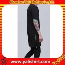 2015 new fashion comfortable cheap cotton/polyester plain side zipper tees wholesale hip hop clothing