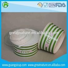 4oz sunken frozen yoghurt paper cups and lids