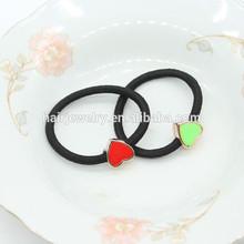 black elastic hair tie heart charm rubber band for girl
