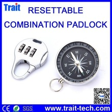 Mini Combination Padlock 3-Digit Safe PIN, Resettable Coded Lock Compass With Key Ring