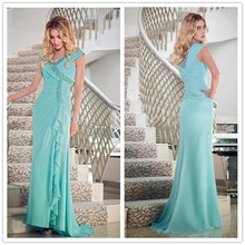 Cap sleeve beading ankle length mother of the bride dresses