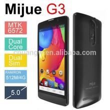 Original mijue G3 Mobile phone MTK6572 Dual Core Android 4.4 512MB RAM 4GB ROM 5.0 inch 3G GPS WiFi Dual SIM china mobile phone