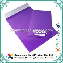 Custom standard size paper printing decorative purple waterproof envelope wholesale