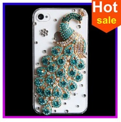 Beautiful diamond peacock cell phone case/NEW Fashion peacock 3D DIY Cute Luxury Bling Crystal Diamond Hard Case Cover