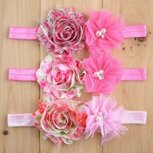 Factory prices mixed colors gilr shabby chic floral headband WH-1305