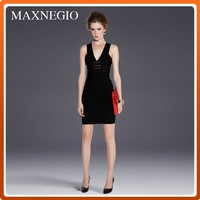 OEM/ODM bodycon black metal decorate frock design short casual prom dresses for cutting