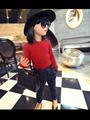 Bz-691 [ menina ] Petty crianças exclusivo personalizado super - modelos de utilidade em torno do pescoço camisa