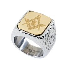 Masonic Signet Ring. Platinum Style Surgical Stainless Steel with 18kt Gold Plating
