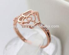 Rose gold plating diamond rings for women