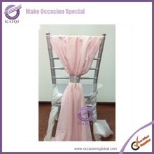 19869 pink chiffon fancy sash for wedding table cloth and chair cover