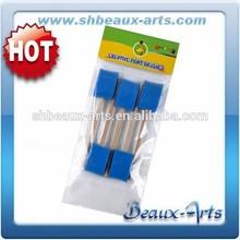 Wood handle blue sponge paint foam brush - Set of 5