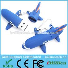 Custom PVC/rubber usb drives airplane usb flash drive