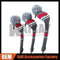 oemゴルフヘッドカバーニット、 古典的なストライプウールニットドライバゴルフクラブヘッドは
