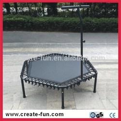 CreateFun 53inch hexagon exercise trampoline equipment with safety bar