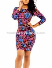 Gros impression mince femmes robe nuit Club robe YH9081