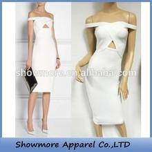 Style No.C028 keyhole off the shoulder crisscross strap white bandage dress