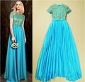 A melhor qualidade! Nova moda 2015 festa de casamento mulheres lantejoulas esferas ocas de luxo fora formal vestido longo corrente de ouro vestido azul