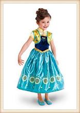 2015 new frozen fever dress elsa anna flower dresses princess girls summer printed party special occasion dresses