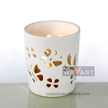 "2.5"" Ceramic candle holder butterfly candle cup"