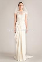 2015 Newest Design Sheath Lace Appliqued Scalloped Short Sleeve Bespoke Brides Gown Wedding Dresses WDZ256 Boda