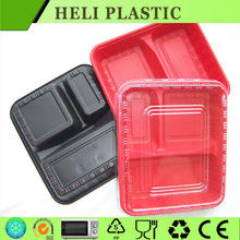 3 compartment microwavable food container with lid for ready meals