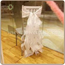 organza chair hood cover with draping curls/ruffles, wedding chair hood sash