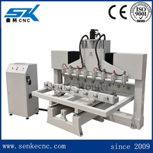 Rotary cylinder materials 4 axis 3d cnc router for wood carving with 8 spindles