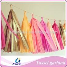Pink, Gold Tissue Paper Tassel Garland- Wedding, Birthday, Bridal Shower, Baby Shower, Garden Party Decorations