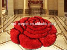 Deep- red big flower pattern home decorative shaggy mat,carpet