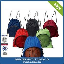 2015 China cheap color drawstring backpack, outdoor ball bag, basketball bag