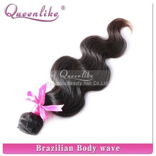 Good thick hair weft unprocessed virgin brazilian hair/virgin body wave