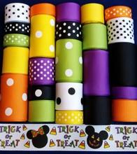 Grosgrain Ribbon Lot Mix Mouse Head Trick or Treat Halloween L227 belt ribbon