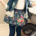 Qz-0971 atacado moda primavera crianças roupas de criança crianças meninas coreano flores novas meninas saia jeans longa