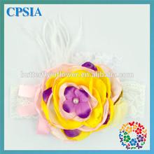 Posh Yellow Purple Flower Headbands Newborn Baby Girl Infant Toddler Cheap Feather Headband