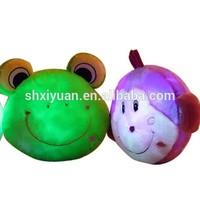 Plush frog kids night glowing led animal head shaped pillow