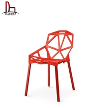 High quality Mordern design Cheap triangle shape engraving plastic chair with powder coating legs stackable plastic chair