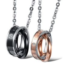 The Lord of the rings pendants Set CZ plated in rose gold couple necklace