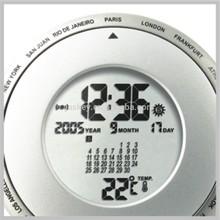 Desktop World Time Alarm Clock with Calendar & Thermometer
