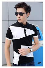2015 Summer Short Sleeve Mens T-shirt Trendy Stand Collar Black And White Color Block Cotton T-shirt