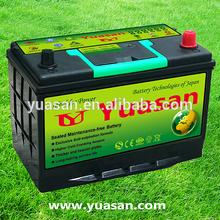 High Quality Yuasan 12V 75AH Calcium Lead Acid Quick Start MF Auto Car Battery -N70ZLMF