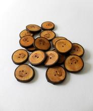 "19 pcs of Handmade Walnut Tree Wood Buttons Medium 1 5/16"" (34 mm)"