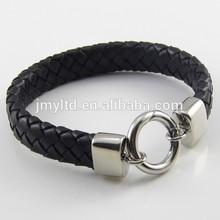 Braided leather bracelet handmade bracelet titanium steel bracelet wrist band