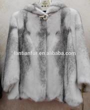 Light gray cross mink fur coats for girls / New fashion mink fur coats / Long winter coats for girls