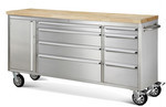 "Thorkitchen Brand New 48"" stainless steel drawer tool chest with wooden top"