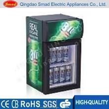 Hotel use glass door top light drink display mini fridge