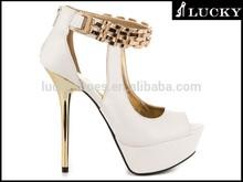 Lady high heel bridal fancy platform sandal / clear girls pencil heel sandals / metal decorative wedding shoes