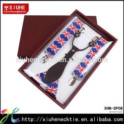 England pattern print leather suspender