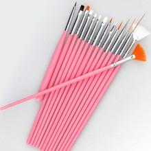 15 pcs Nail Art Brush Set Pink