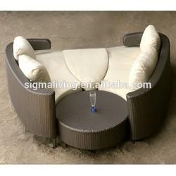 2015 Classical design resin rattan outdoor furniture sofa bed