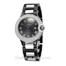 2015 black color stainless steel bracelet watch women